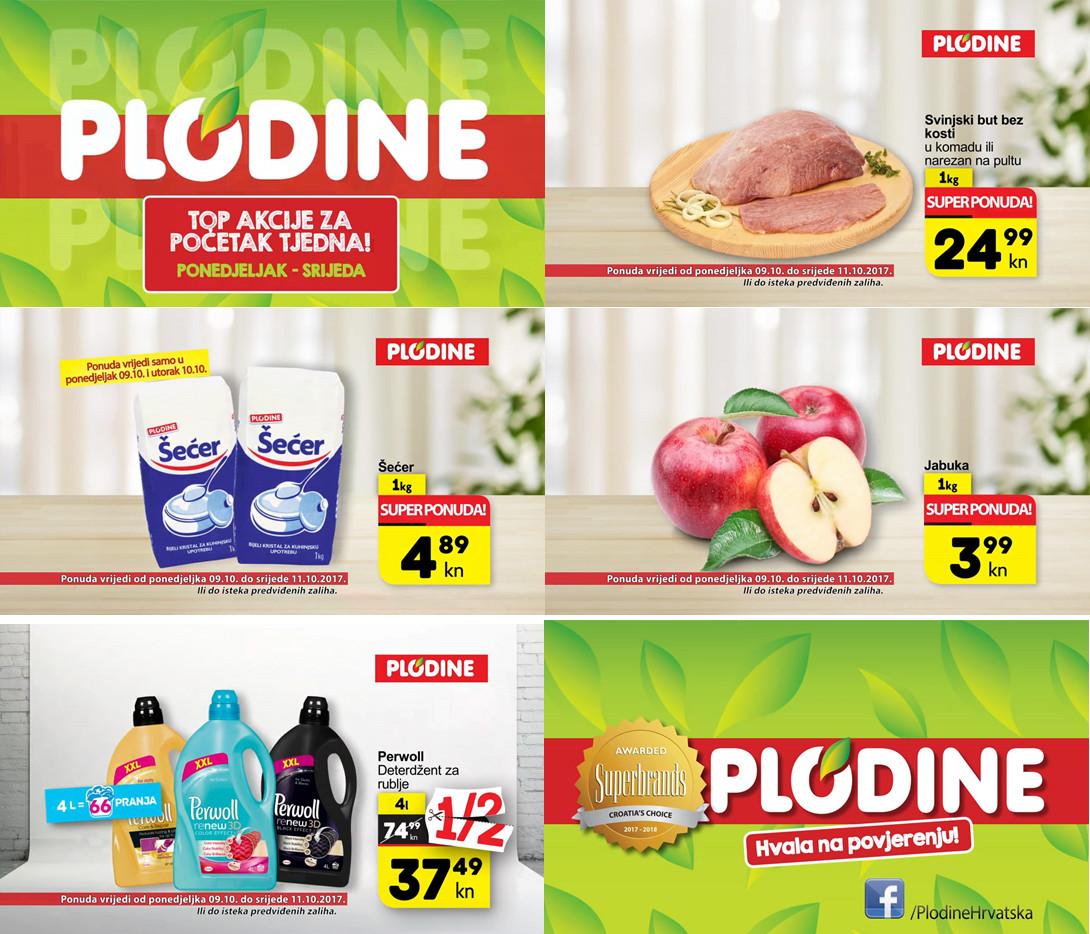 Top akcije za početak tjedna! Od ponedjeljka do srijede 09.- 11.10.2017.  iskoristite nove popuste i kupujte povoljnije u Plodine supermarketima.