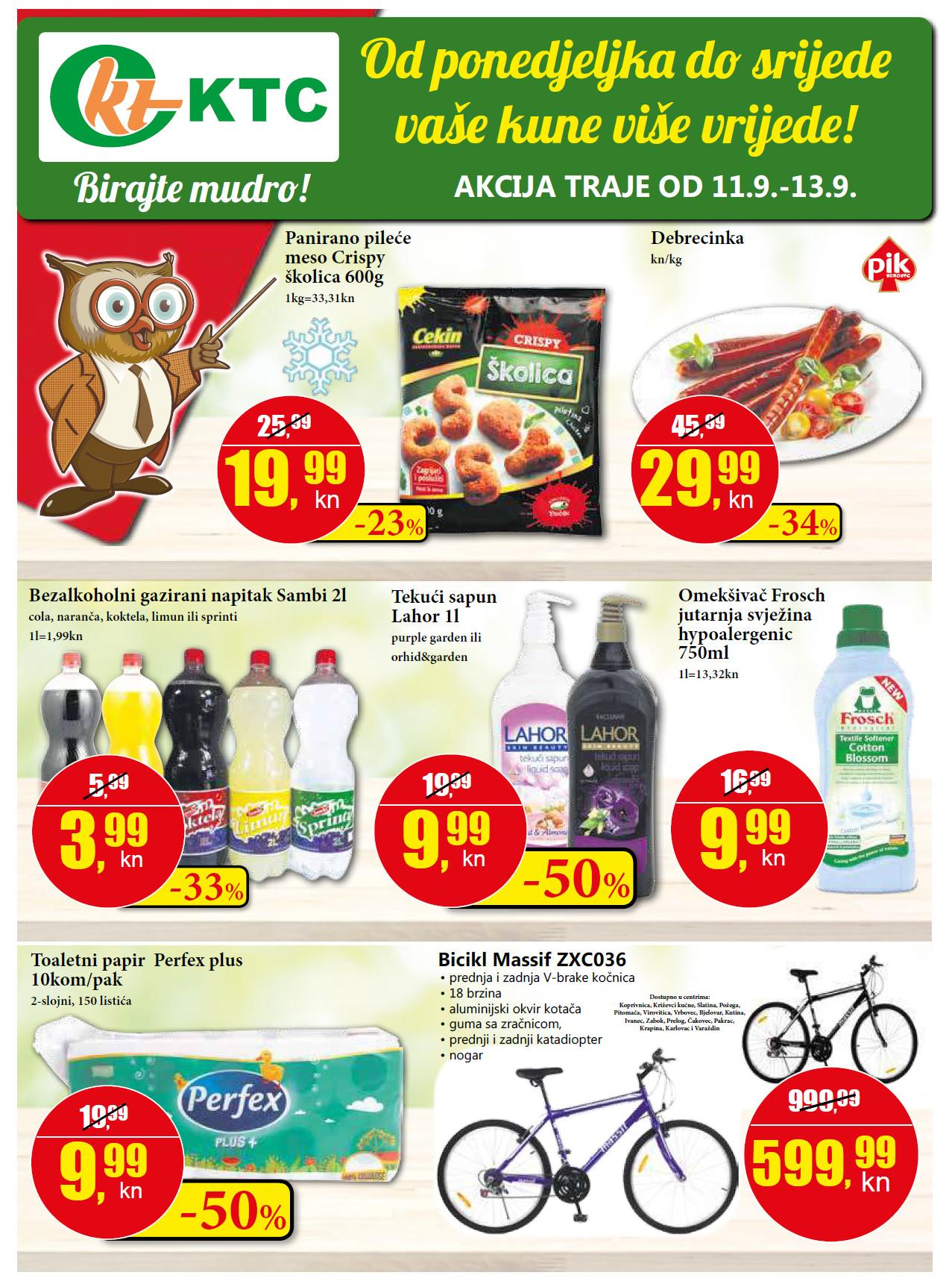 Od ponedeljka do srijede vaše kune više vrijede!  Top ponuda za početak tjedna od 11.- 13.09.2017. u KTC supermarketima.