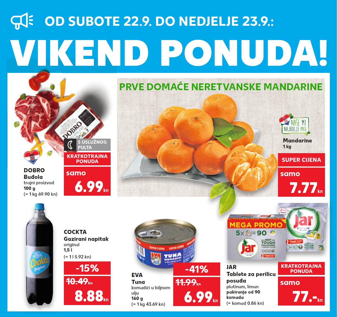 Top ponuda samo u subotu i nedjelju. Nova vikend akcija od 22.- 23.09.2018. u Kaufland supermarketima.