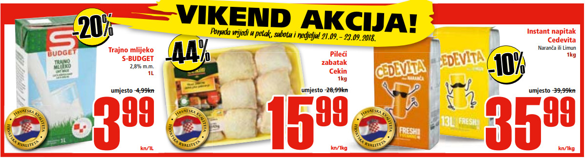 Ne propustite nova vikend sniženja od 21.-23.09.2018. u Spar i Interspar supermarketima.