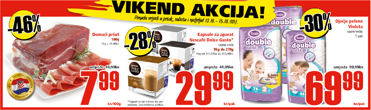 Ne propustite nova vikend sniženja od 13.-15.10.2017. u Spar i Interspar supermarketima.