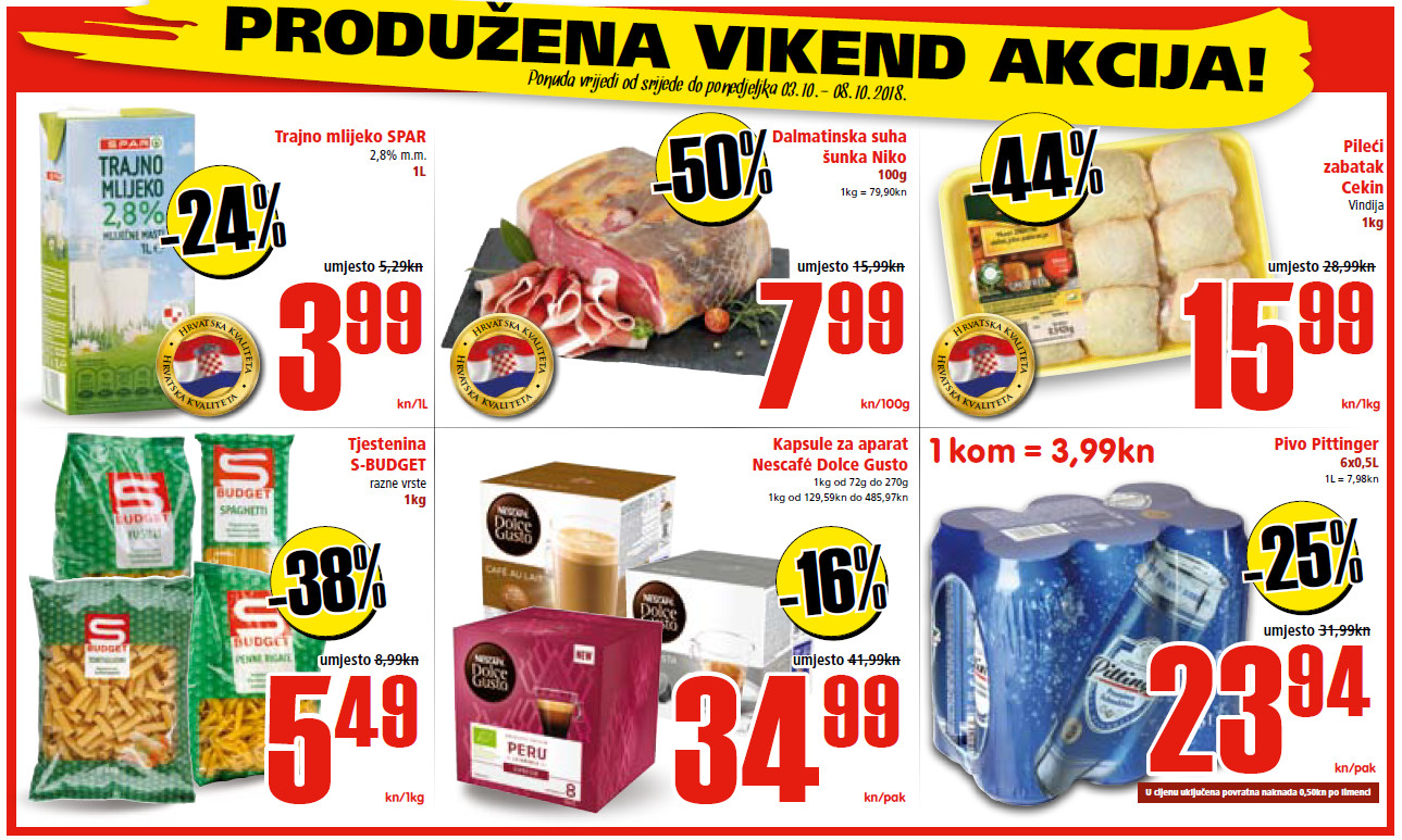Ne propustite nova vikend sniženja od 03.- 08.10.2018. u Spar i Interspar supermarketima.