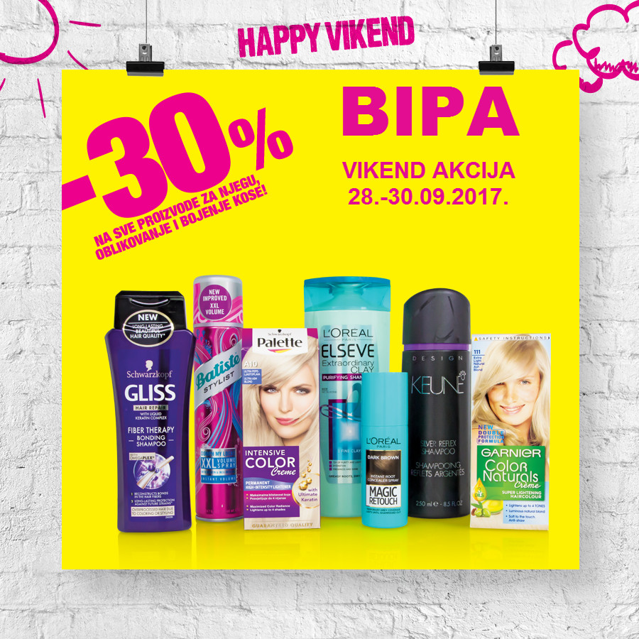 Nova Happy vikend akcija od 28.- 30.09.2017. u BIPA drogerijama!