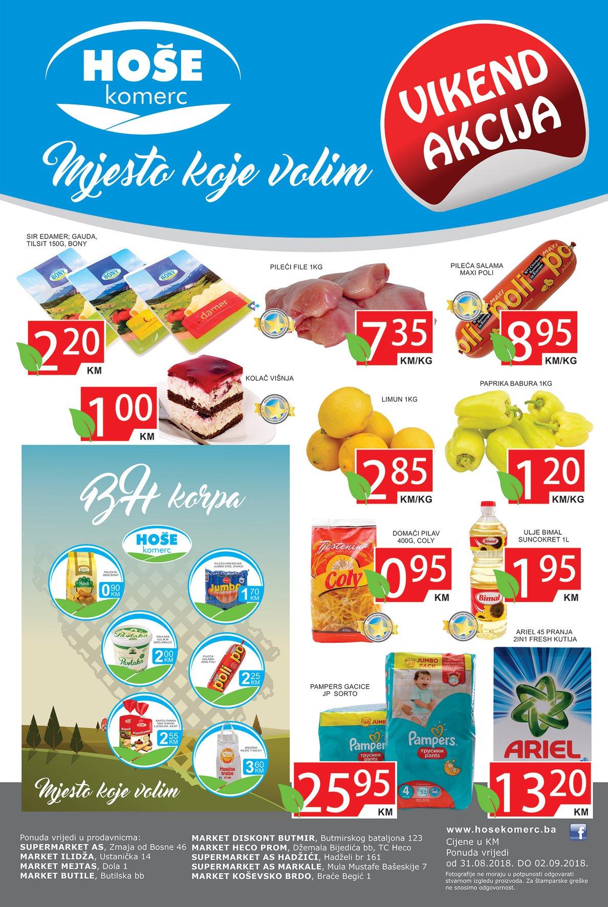 Mjesto koje volim! Nova vikend akcija od 31.08.- 02.09.2018. u Hoše komerc supermarketima.