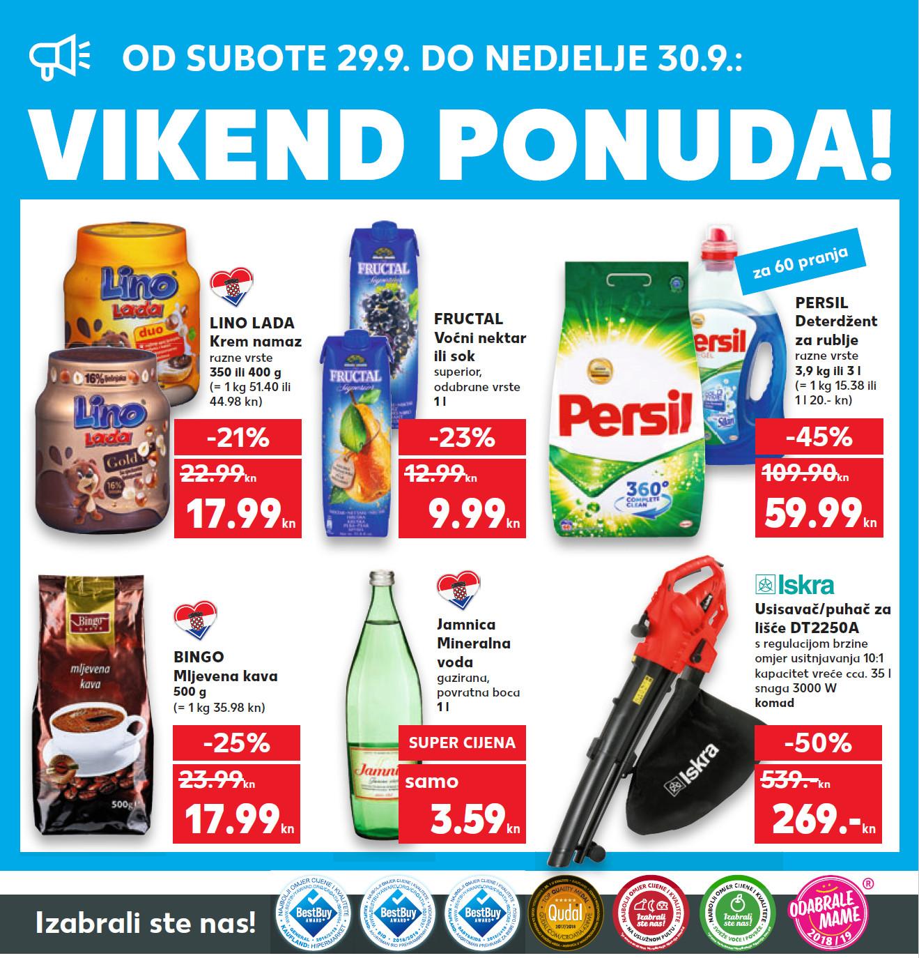 Top ponuda samo u subotu i nedjelju. Nova vikend akcija od 29.- 30.09.2018. u Kaufland supermarketima.