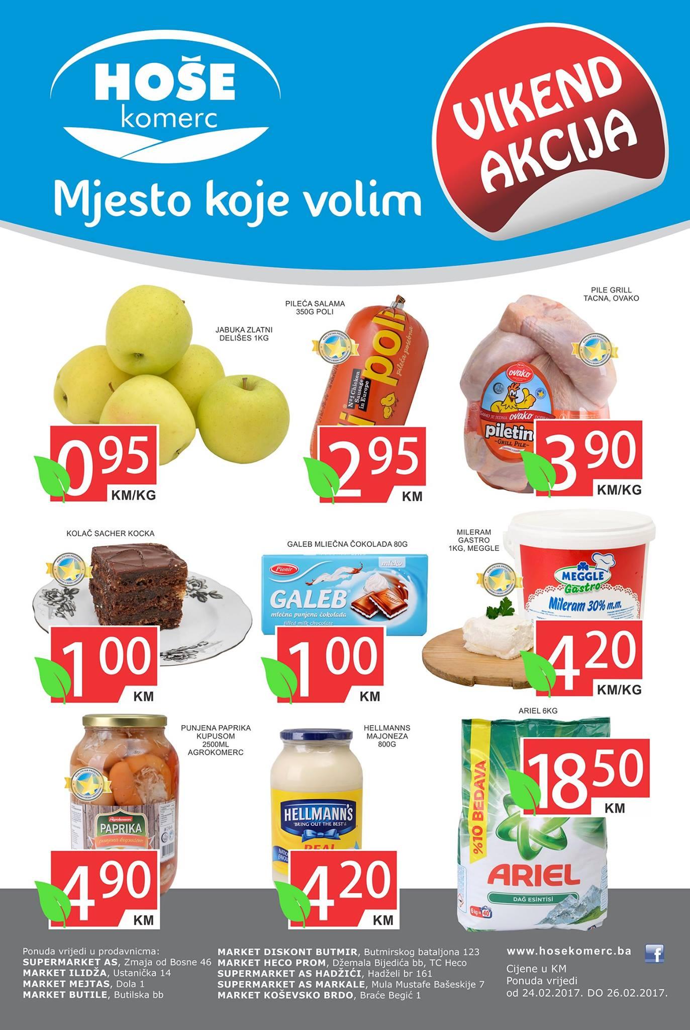 Nova vikend akcija od 24.- 26.02.2017. u Hoše komerc supermarketima.
