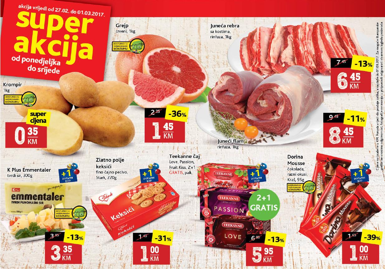 Nema akcije do Konzum akcije! Nova Super akcija u Konzum supermarketima od 27.02.-01.03.2017.