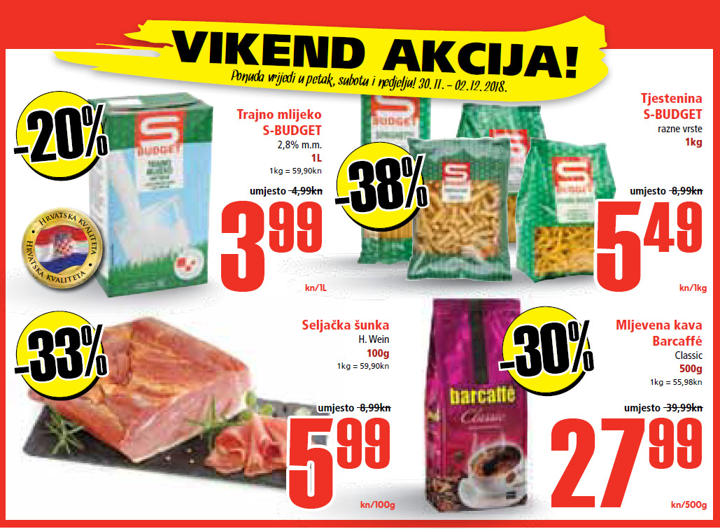 Ne propustite nova vikend sniženja od 30.11.- 02.12.2018. u Spar i Interspar supermarketima.