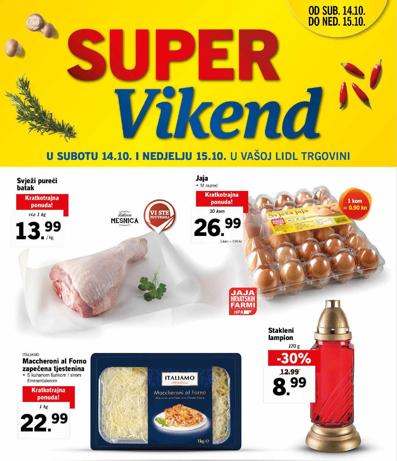 Novi super popusti na odabrane proizvode u Lidlovom Super vikendu od 14.-15.10.2017. godine.