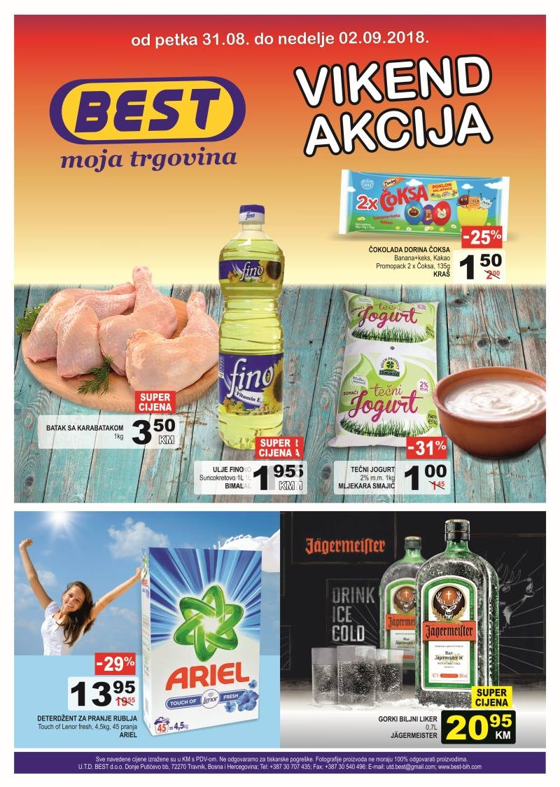 Best moja trgovina! Nova vikend akcija od 31.08.- 02.09.2018. u Best supermarketima!